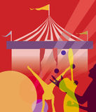Circus marquee tent with juggling  illustration Royalty Free Stock Photography