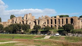 Circus Maximus, historic site, sky, ancient history, archaeological site. Circus Maximus is historic site, archaeological site and ancient rome. That marvel has royalty free stock photos
