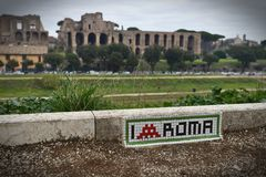 Circus maximus in Rome with Palatino hill. Royalty Free Stock Photography