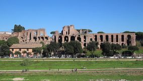 Circus Maximus and ruins of Palatine hill, in Rome, Italy stock video