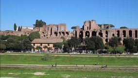 Circus Maximus and ruins of Palatine hill, in Rome, Italy stock video footage
