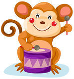 Circus monkey. Illustration of isolated circus monkey play drum on white Royalty Free Stock Photos