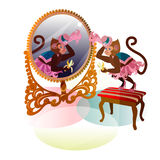 Circus monkey with mirror Royalty Free Stock Images