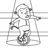 Circus monkey on a unicycle coloring page Royalty Free Stock Photo