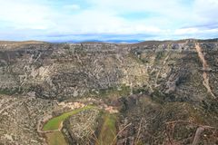 Circus of Navacelles in Herault,  France. Circus of Navacelles in Herault,  famous meander dug by erosion, Occitanie in the southern of France stock image