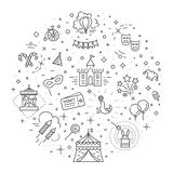 Circus outline icons collection set. Festival linear symbol pack. Stock Image