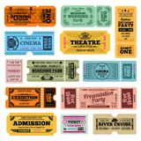 Circus, party and cinema vector vintage admission tickets templates. Collection of retro ticket to cinema, theater and river cruise illustration vector illustration