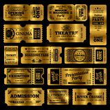 Circus, party and cinema vector vintage admission tickets templates. Golden tickets isolated on black background. Ticket of collection in vintage style royalty free illustration