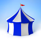 Circus party tent blue and white striped. 3d image stock illustration