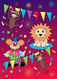 Circus pattern. With lion apes and a clown Royalty Free Stock Photos