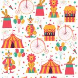 Circus pattern with clown, bike, balloons, rabbit in hat and lion. vector illustration