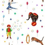 Circus pattern, elephant, clown, soap bubbles, stars, tiger, fire ringg, acrobat. Watercolor illustration on white. Circus pattern, elephant, clown, soap bubbles royalty free illustration