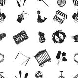 Circus pattern icons in black style. Big collection of circus vector symbol stock illustration Stock Photo