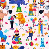 Circus people vector acrobat or clown and trained animals characters in circus-tent illustration set of magician and royalty free illustration