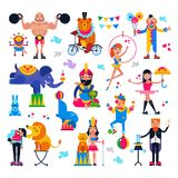 Circus people vector acrobat or clown and trained animals characters in circus-tent illustration set of magician and stock illustration