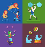 Circus performance with animals clown actor athlete, Vector illustration Stock Images