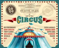 Circus Performance Announcement Retro Poster. Travel circus carnival performances discount ticket voucher retro poster with blue canopy tent and show highlights Stock Image