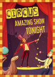 Circus Performance Announcement Retro Style Poster. Traveling circus show announcement retro cartoon style poster print with clown and magician performance Royalty Free Stock Photos