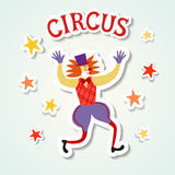 Circus performance cartoon illustration with clown. Stock Images