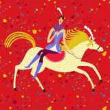 Circus performance cartoon illustration with horse and rider lad Stock Photo