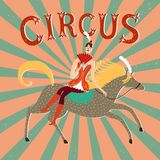 Circus performance cartoon illustration with horse and rider lad. Circus performance cartoon poster with cute hand drawn horse and rider lady. Cartoon royalty free illustration