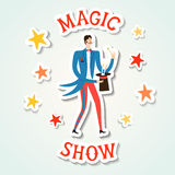 Circus performance cartoon illustration with magician and rabbit Stock Image