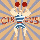 Circus performance cartoon illustration with power lifter. Royalty Free Stock Photography