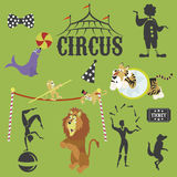 Circus performance decorative icons set with athlete animals magician Stock Photography