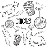 Circus performance decorative icons set. Vector illustration, EPS 10 Royalty Free Stock Images