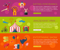 Circus performance, entertainment, amusement show compositions with circus icons. Flat style design. Royalty Free Stock Photography