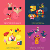 Circus performance, entertainment, exotic animals compositions with circus icons. Flat style design. Stock Photos
