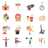 Circus Performance Flat Color Icons Set Royalty Free Stock Photography