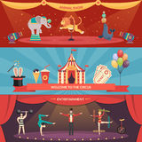 Circus Performance Horizontal Banners Royalty Free Stock Photo