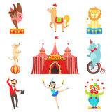 Circus Performance Objects And Characters Set Royalty Free Stock Photos