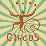 Circus performance vintage poster with  monkey. Circus performance decorative vintage poster with cute hand drawn juggling monkey. Cartoon vector illustration Stock Photography