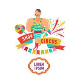 Circus performer. Circus strong man. Circus strongman shows the strength of his muscles. Vector illustration. Circus performer. Circus strong man. Circus Stock Photo
