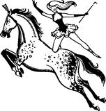 Circus Performer On A Horse. Lady circus performer doing tricks on the back of a galloping horse Stock Photo