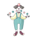 Circus performer. Man clown juggling balls. Vector illustration, isolated on white background. Royalty Free Stock Photos