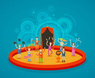 Circus. Performers at the arena. Circus performers on the arena. vector illustration Stock Image