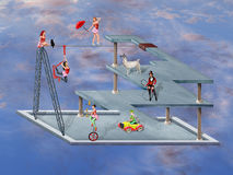 Impossible Circus. Circus performers in an impossible surreal circus stock illustration