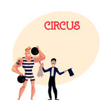 Circus performers - strongman and magician conjuring rabbit out of hat Royalty Free Stock Photography