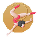 Circus perfotmer make aerial ring fly trick. Circus artist young womanl make stunt on aerial ring Stock Photo
