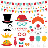 Circus photo booth props and decoration. Circus vector photo booth props and decoration Stock Images