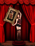 Circus Pinup Model on Red Draped Stage Royalty Free Stock Photo