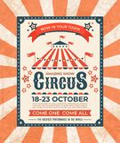 Circus poster. Carnival vintage old banner frame, magic show greetings card, retro invitation card. Vector marquee tent