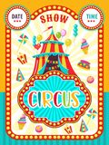 Circus poster. Circus show. Circus tent decorated with balloons. Place for the date and time of the show. Colorful vector illustration Royalty Free Stock Photography
