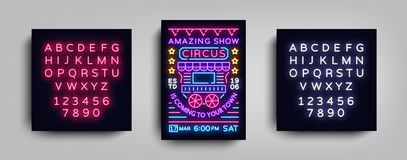 Circus poster design template in neon style. Circus wagon Neon sign, tent, light banner, bright brochure, neon flyer stock illustration