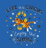 The circus poster with the tiger jumping in a fiery ring and the text - Life is a circus, enjoy the show. Vector illustration. The circus poster with the tiger Stock Image