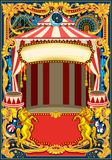 Circus Poster Vector Frame. Circus poster theme. Vintage frame with circus tent for kids birthday party invitation or post. Quality template vector illustration Royalty Free Stock Images