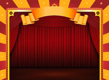 Circus Poster With Stage And Red Curtains Royalty Free Stock Photos